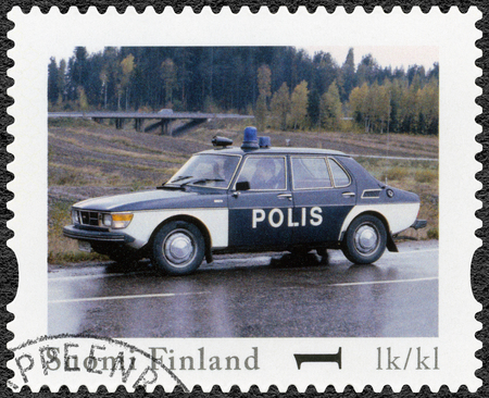 99: FINLAND - CIRCA 2013: A stamp printed in Finland shows Saab 99 GL, series Finland Official Vintage Police Car, circa 2013