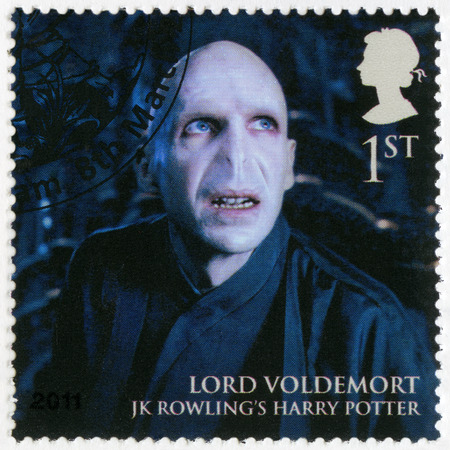 GREAT BRITAIN - CIRCA 2011: A stamp printed in Great Britain shows portrait of Lord Voldemort, series Magical Realms, circa 2011 Editorial