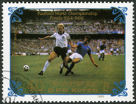 west germany: NORTH KOREA - CIRCA 1985: A stamp printed in DPR Korea shows West Germany vs. Italy, 1982, series World Cup Soccer 1970-1986, circa 1985