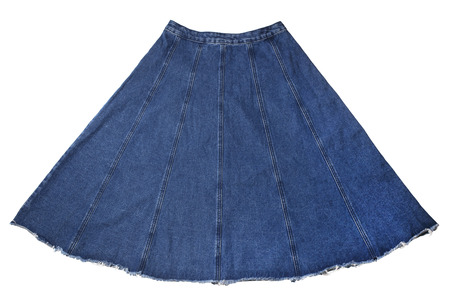 denim skirt: Womens denim skirt on isolated white background
