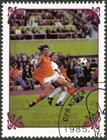 west germany: NORTH KOREA - CIRCA 1985: A stamp printed in DPR Korea shows West Germany vs. Netherlands, 1974, series World Cup Soccer 1970-1986, circa 1985