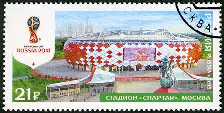copa: Rusia - alrededor de 2015: Un sello impreso en Rusia muestra Estadio Spartak, Moscú, Estadios de la serie 2018, la Copa Mundial de Fútbol de Rusia, alrededor del año 2015 Editorial