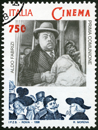 screenwriter: ITALY - CIRCA 1996: A stamp printed in Italy shows Aldo Fabrizi (1905-1990) in film Prima Comunione, series Motion Picture, circa 1996 Editorial