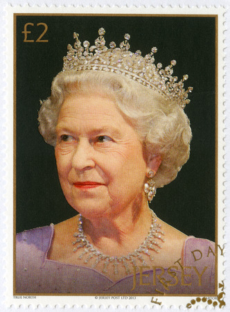 coronation: JERSEY - CIRCA 2013: A stamp printed in Jersey shows Queen Elizabeth II, series 60th Anniversary Of The Queens Coronation, circa 2013