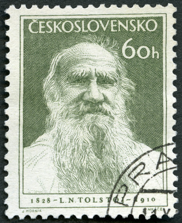 novelist: CZECHOSLOVAKIA - CIRCA 1953: A stamp printed in Czechoslovakia shows Russian writer Lev Leo Nikolayevich Tolstoi (1828-1910), Novelist and Philosopher, 125th birth anniversary, circa 1953 Editorial