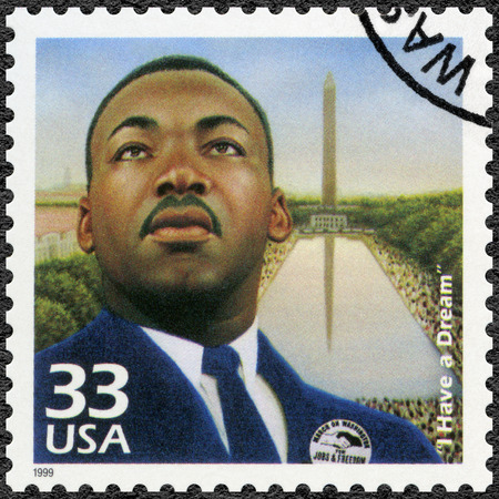 luther: UNITED STATES OF AMERICA - CIRCA 1999: A stamp printed in USA shows Martin Luther King, Jr. (1929-1968), I Have a Dream, speech 28 august 1963, civil rights leader, series Celebrate the Century, 1960s, circa 1999 Editorial