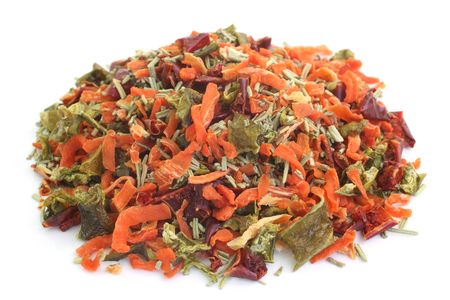 pepper flakes: Dried vegetable mix on white background