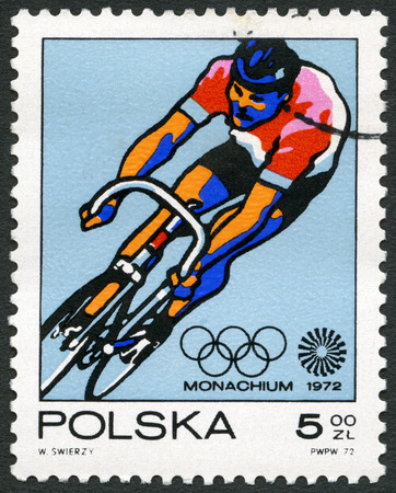 postage stamps: POLAND - CIRCA 1971: A stamp printed in Poland shows Bicycling, series 20th Olympic Games, Munich, circa 1971 Editorial