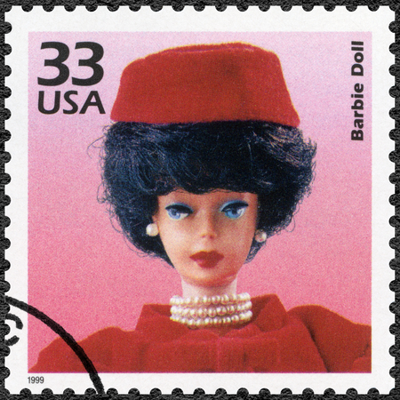 barbie: UNITED STATES OF AMERICA - CIRCA 1999: A stamp printed in USA shows Barbie Doll, series Celebrate the Century, 1960s, circa 1999 Editorial