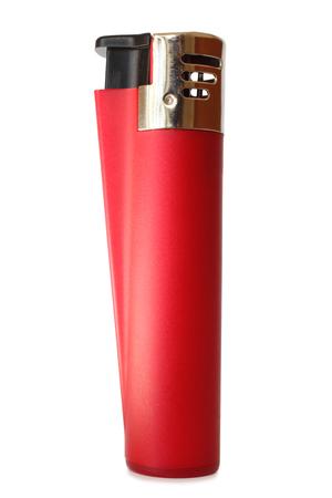 gas lighter: Red lighter on white background