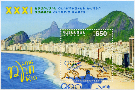 ARMENIA - CIRCA 2016: A stamp printed in Armenia shows Copacabana, Olympic Rings, 31th Olympic Games, Rio, Brazil, circa 2016