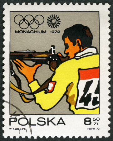 postage stamp: POLAND - CIRCA 1971: A stamp printed in Poland shows Sharpshooter, Olympic Rings and Motion Symbol, series 20th Olympic Games, Munich, circa 1971