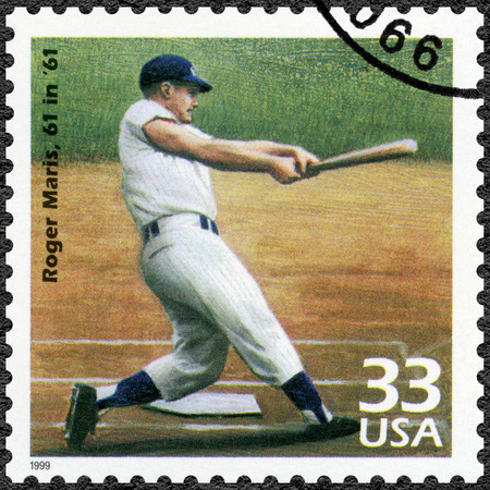UNITED STATES OF AMERICA - CIRCA 1999: A stamp printed in USA shows Roger Maris, 61 in 61, series Celebrate the Century, 1960s, circa 1999