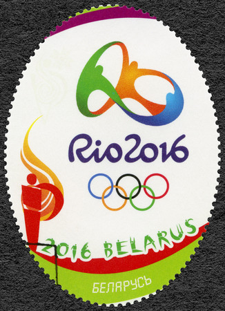 olympic rings: BELARUS - CIRCA 2016: A stamp printed in Belarus shows Olympic Rings and Symbol, 31th Olympic Games, Rio, Brazil, circa 2016