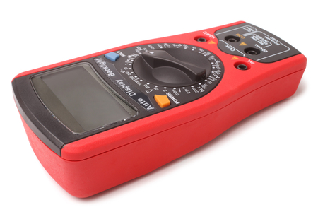 ohm: Digital multimeter on white background Stock Photo
