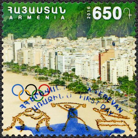 ARMENIA - CIRCA 2016: A stamp printed in Armenia shows Copacabana, Olympic Rings , 31th Olympic Games, Rio, Brazil, circa 2016