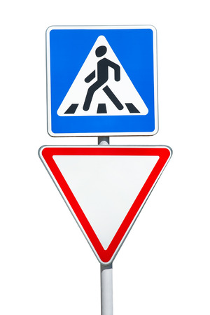 give the way: Road signs isolated on white background, Pedestrian Crossing and Give Way