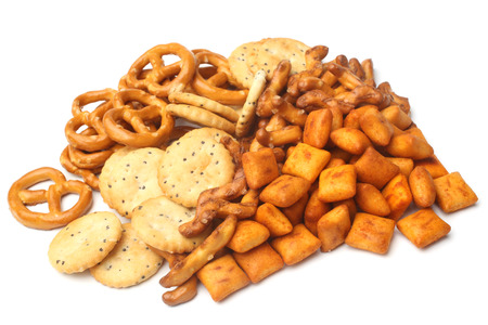 salty: Salty snacks on white background Stock Photo