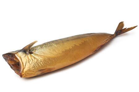smoked: Smoked mackerel on white background