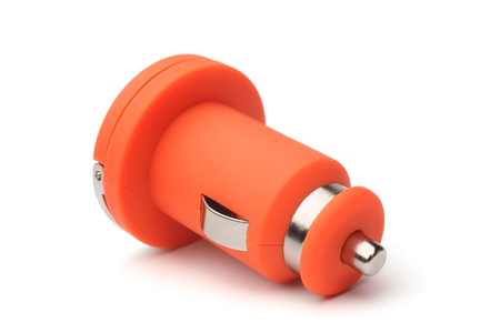 Car charger on white background Stock Photo