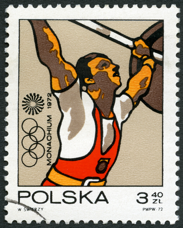 olympic rings: POLAND - CIRCA 1971: A stamp printed in Poland shows Weight lifting, Olympic Rings and Motion Symbol, series 20th Olympic Games, Munich, circa 1971
