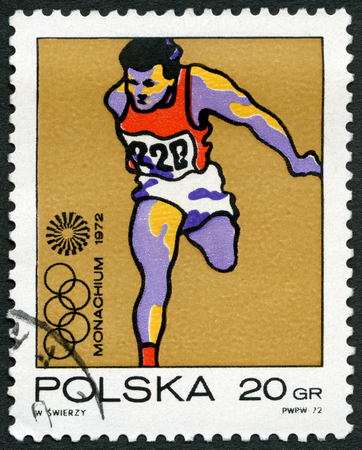 olympic symbol: POLAND - CIRCA 1971: A stamp printed in Poland shows Runner, Olympic Rings and Motion Symbol, series 20th Olympic Games, Munich, circa 1971 Editorial