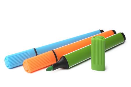 felt tip: Multicolored felt tip pens on white background