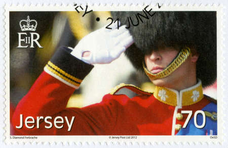 duke: JERSEY - CIRCA 2012: A stamp printed in Jersey shows William Arthur Philip Louis, Prince William, Duke of Cambridge, 30th Birthday, circa 2012