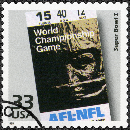 afl: UNITED STATES OF AMERICA - CIRCA 1999: A stamp printed in USA shows Super Bowl I, series Celebrate the Century, 1960s, circa 1999 Editorial