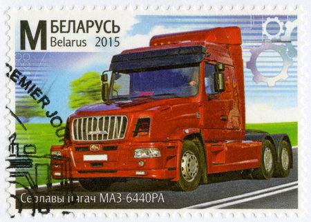 postmarked: BELARUS - CIRCA 2015: A stamp printed in Belarus shows truck, series Machine Building of Belarus, circa 2015