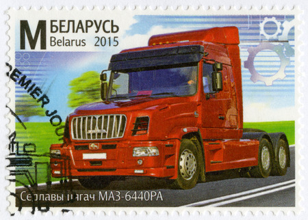 BELARUS - CIRCA 2015: A stamp printed in Belarus shows truck, series Machine Building of Belarus, circa 2015