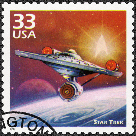 UNITED STATES OF AMERICA - CIRCA 1999: A stamp printed in USA shows Star Trek, series Celebrate the Century, 1960s, circa 1999 Editorial