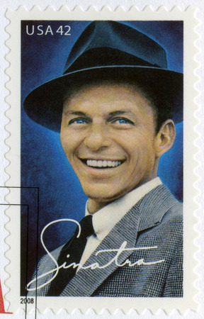 postage stamps: USA - CIRCA 2008: A stamp printed in USA shows Francis Albert Frank Sinatra (1915-1998), American singer, actor, and producer, circa 2008