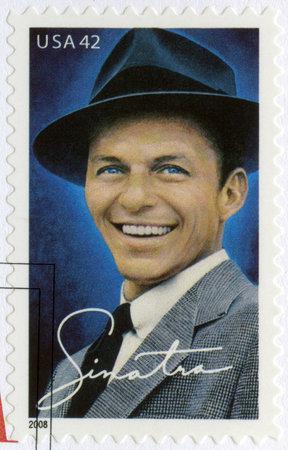 USA - CIRCA 2008: A stamp printed in USA shows Francis Albert Frank Sinatra (1915-1998), American singer, actor, and producer, circa 2008 Фото со стока - 63836819