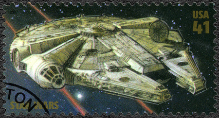 wars: UNITED STATES OF AMERICA - CIRCA 2007: A stamp printed in USA shows Millennium Falcon, series Premiere of Movie Star Wars 30 anniversary, circa 2007