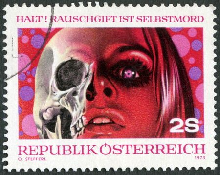 post mail: AUSTRIA - CIRCA 1973: A stamp printed in Austria shows Drugs are Dead, Fight against drug abuse, circa 1973
