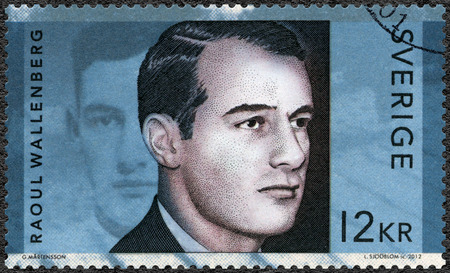 gustaf: SWEDEN - CIRCA 2012: A stamp printed in Sweden shows Raoul Gustaf Wallenberg (1912-1945), Swedish architect, businessman, diplomat and humanitarian, circa 2012 Editorial