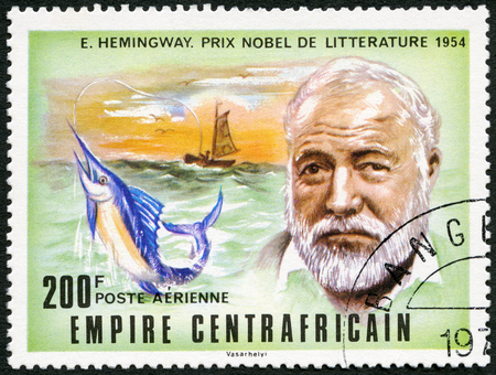 hemingway: CAR - CIRCA 1977: A stamp printed in Central African Republic shows Ernest Hemingway (1899-1961), Nobel Prize winner for Literature 1954, circa 1977
