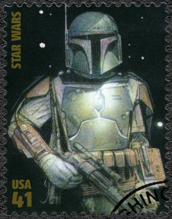 trilogy: UNITED STATES OF AMERICA - CIRCA 2007: A stamp printed in USA shows Boba Fett, series Premiere of Movie Star Wars 30 anniversary, circa 2007