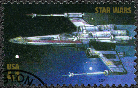 movie star: UNITED STATES OF AMERICA - CIRCA 2007: A stamp printed in USA shows X-wing Starfighter, series Premiere of Movie Star Wars 30 anniversary, circa 2007