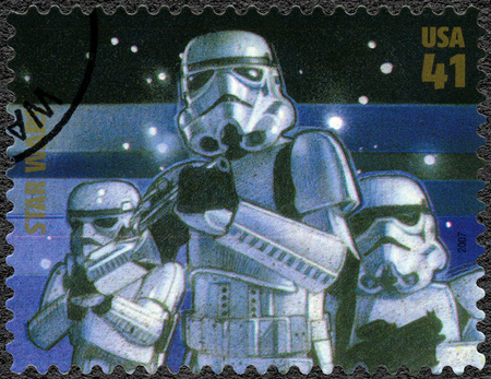 stormtrooper: UNITED STATES OF AMERICA - CIRCA 2007: A stamp printed in USA shows Stormtrooper, series Premiere of Movie Star Wars 30 anniversary, circa 2007 Editorial