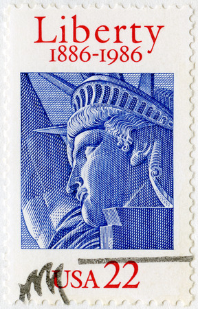 enlightening: UNITED STATES OF AMERICA - CIRCA 1986: A stamp printed in USA shows Statue of Liberty,  Liberty Enlightening the World, circa 1986
