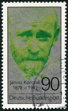 treblinka: GERMANY - CIRCA 1978: A stamp printed in Germany shows Janusz Korczak (1878-1942), physician, educator, proponent of childrens rights, circa 1978 Editorial