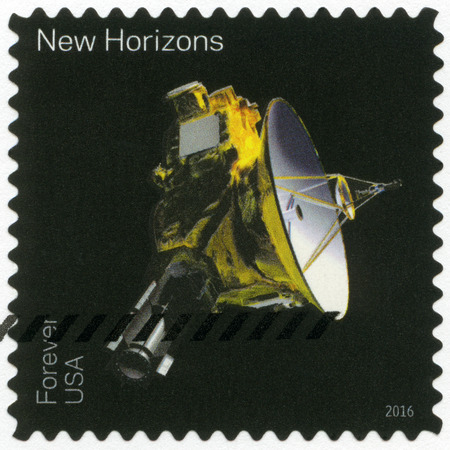 new horizons: UNITED STATES OF AMERICA - CIRCA 2016: A stamp printed in USA shows The New Horizons, series Pluto-Explored, circa 2016 Editorial