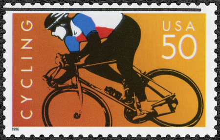 postage: UNITED STATES OF AMERICA - CIRCA 1996: A stamp printed in USA dedicated Cycling, circa 1996