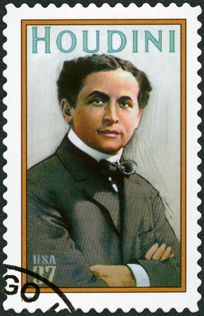 UNITED STATES OF AMERICA - CIRCA 2002: A stamp printed in USA shows Harry Houdini (1874-1926), Erik Weisz, Magician, circa 2002