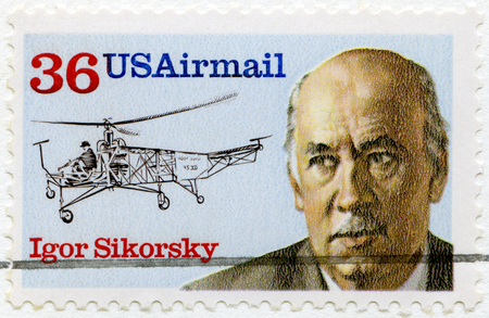 UNITED STATES OF AMERICA - CIRCA 1988: A stamp printed in USA shows portrait of Igor Ivanovich Sikorsky (1889-1972) and Helicopter VS300 of 1939, aeronautic engineer, series aviation pioneer, circa 1988