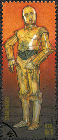 movie star: UNITED STATES OF AMERICA - CIRCA 2007: A stamp printed in USA shows humanoid robot, series Premiere of Movie Star Wars 30 anniversary, circa 2007