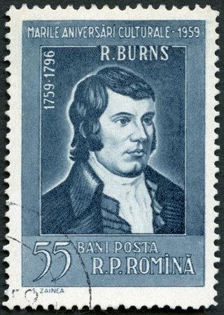 rumania: ROMANIA - CIRCA 1959: A stamp printed in Romania shows portrait of Robert Burns (1759-1796), Scottish Poet, series Various cultural anniversaries in 1959, circa 1959