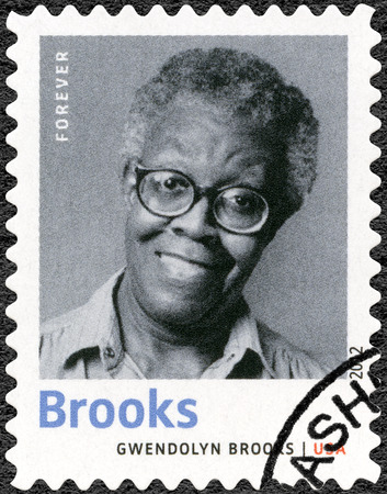 essayist: UNITED STATES OF AMERICA - CIRCA 2012: A stamp printed in USA shows Gwendolyn Elizabeth Brooks (1917-2000), American poet, author, and teacher, series Nobel Laureate in Literature, circa 2012